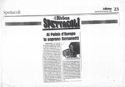1992 articolo concerto Mentone